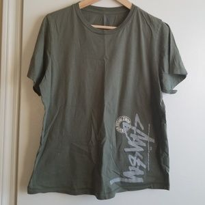 Stussy Olive green graphic t-shirt